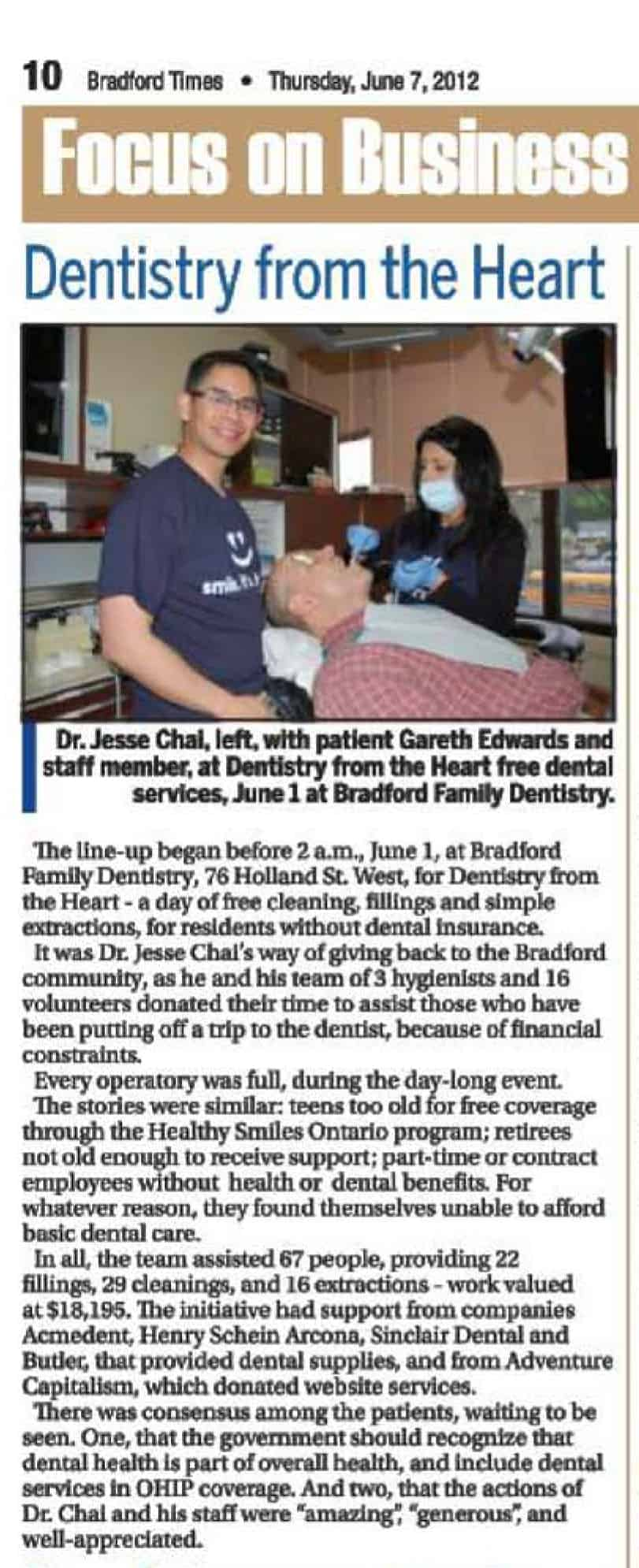 Dentistry from the Heart | photo: Bradford Times 2012