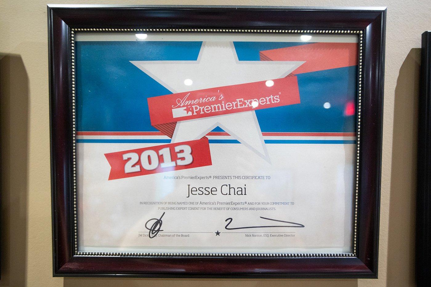 Jesse Chai - America's Premier Experts Award