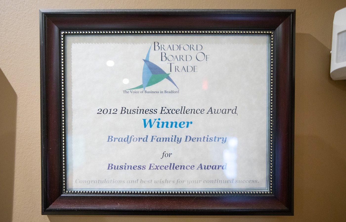 2012 Business Excellence Award - Bradford Board of Trade