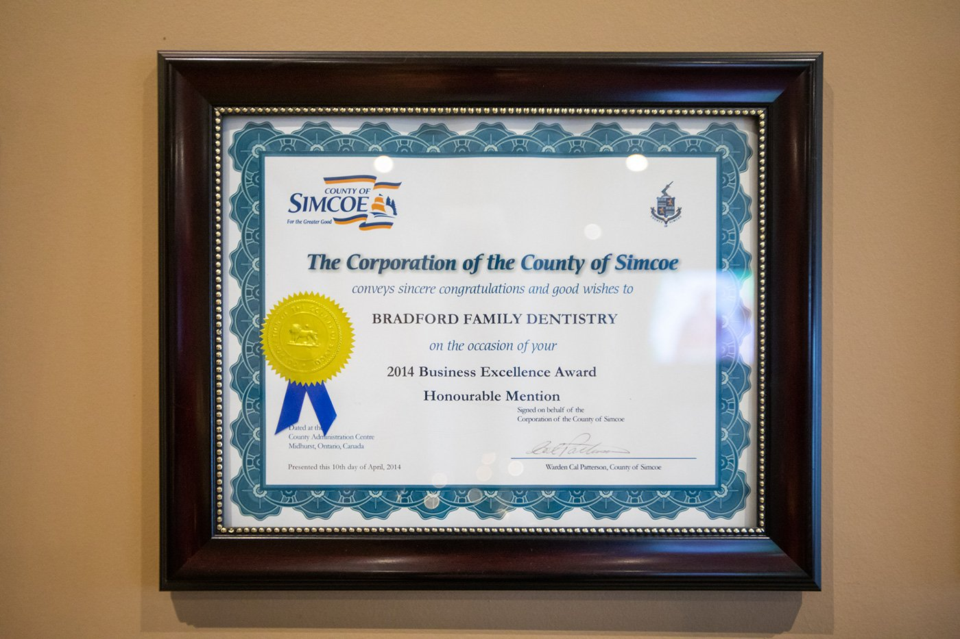 2014 Business Excellence Award - County of Simcoe
